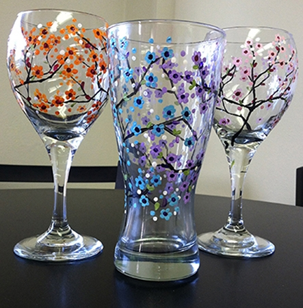 Wine weds byob wine glass painting class 06 11 2014 for How to paint a wine glass with acrylics