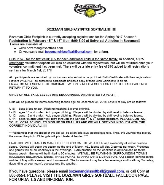 Bozeman Girls REC Fastpitch Softball Registration 02/15/2017 Bozeman ...