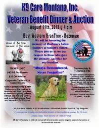K9 Care Montana Wounded Veteran Benefit Dinner