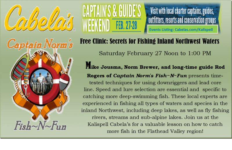 Fishing seminar by captain norm 39 s fishnfun 02 27 2016 for Cabela s kalispell