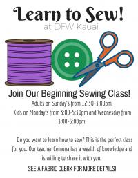 Kid's Beginning Sewing Class