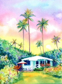 Watercolor Class - Cottage with Sunset and Palms