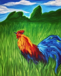 "Paint & Sip at the ""Kauai Rooster"" event!"