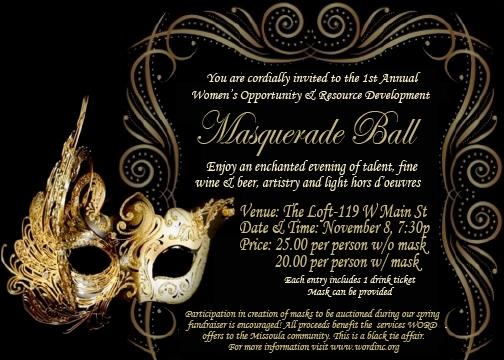 Masquarade Invitations with beautiful invitation template