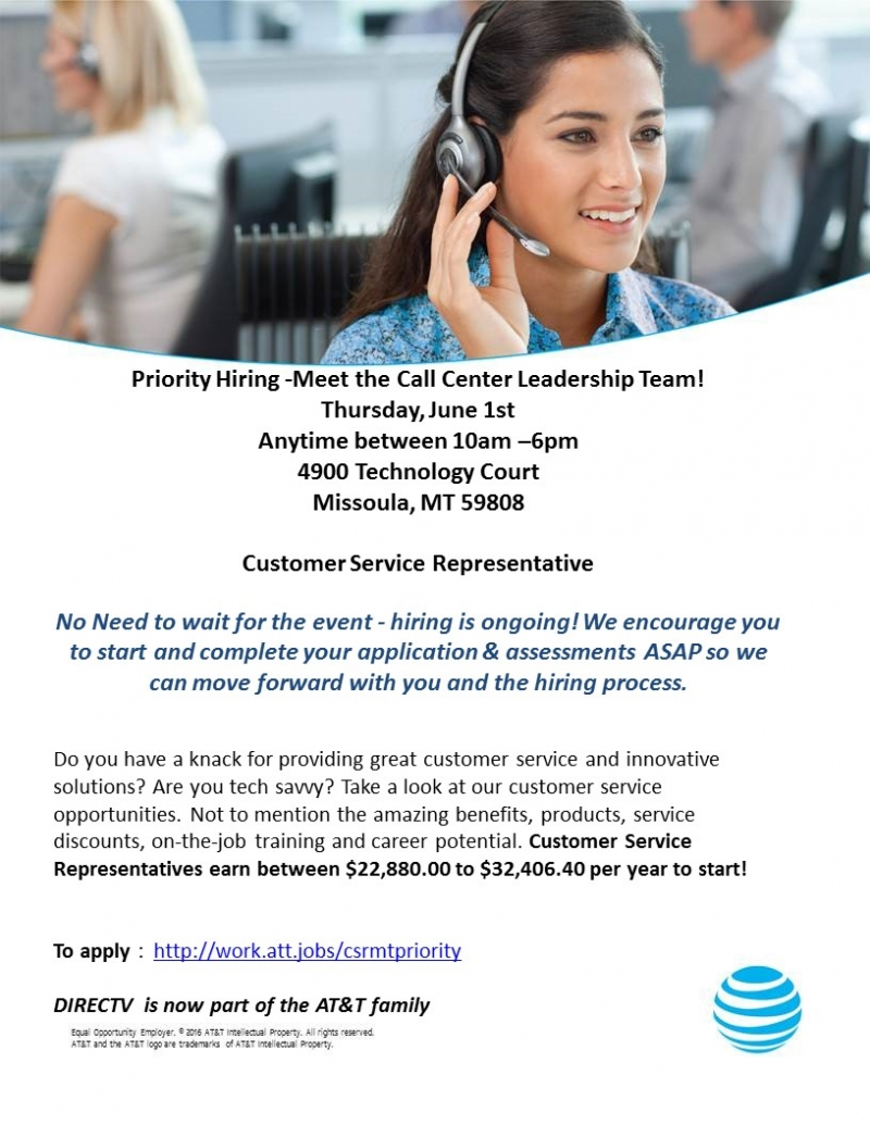 att priority hiring call center