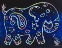 Paint with us - The Paisley Neon Elephant