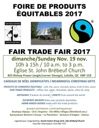 FAIR TRADE FAIR - ST JOHN BREBEUF CHURCH - LASALLE