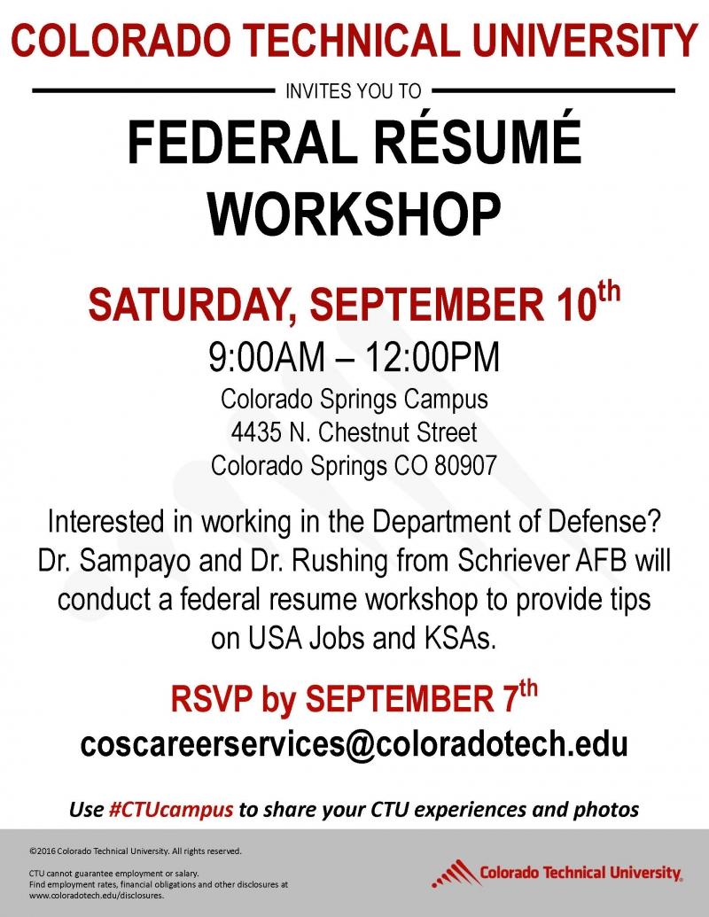 colorado technical university federal resume workshop 09  10  2016 colorado springs  colorado