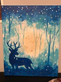 Deer starry night canvas paint workshop