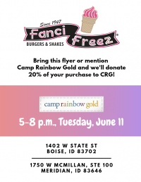 Camp Rainbow Gold Night at Fanci Freez (Meridian)
