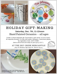 Holiday Gift-Making: Hand-painted Ceramics, all ages