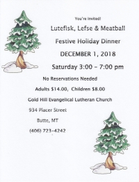 Gold Hill's Annual Lutefisk Holiday Dinner