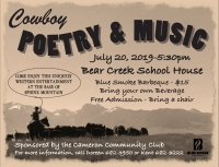 Cowboy Poetry and Music:  July 20 in Cameron