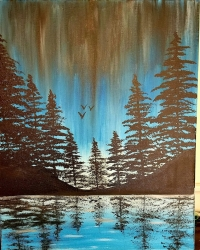 Paint Party Night Trees