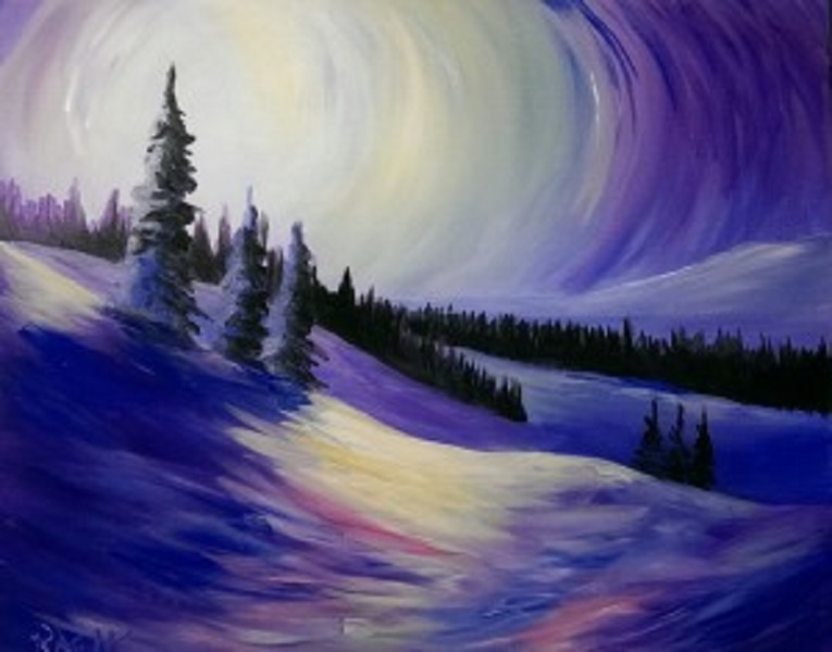 Sunshine and Snow Tipsy Brush Painting Party, Kalispell