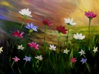 Flower Meadows paint party at Tipsy Brush!
