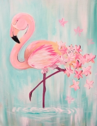 Flamingo, Tipsy Brush Painting Party