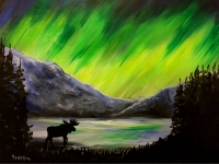 Northern Lights Moose, Tipsy Brush Painting Party