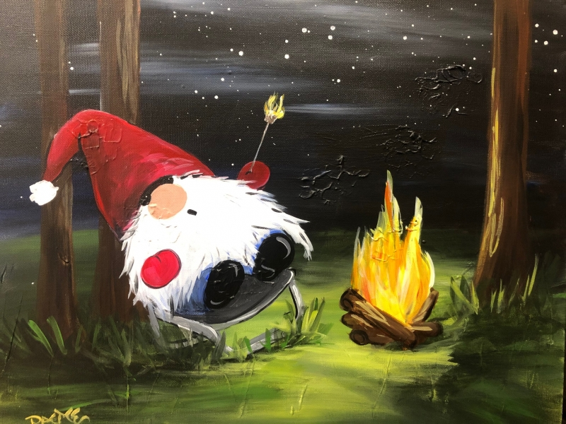 Camping Gnome, Tipsy Brush Painting Party!