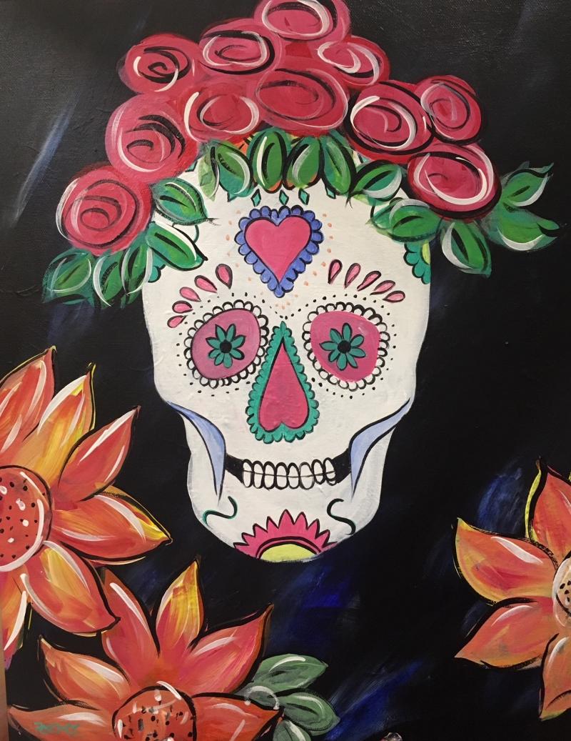 Sugar Skull, Tipsy Brush Painting Party!