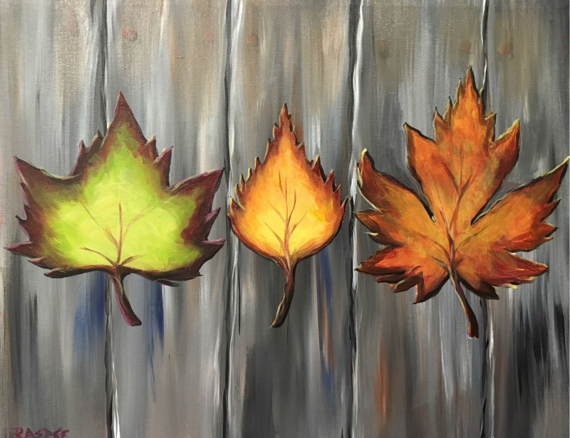 Autumn Leaves, Tipsy Brush Painting Party