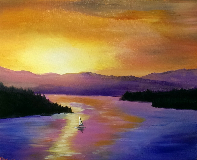 Lazy Lake, Tipsy Brush Painting Party!
