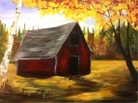 Fall Barn, Tipsy Brush Painting Party, Kalispell!