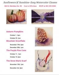 Easy Watercolor Class- The Purple Pine Cone