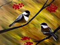 Two Chickadees, Tipsy Brush Painting Party, Kalispel