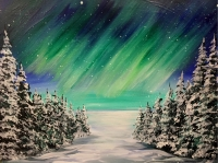 Northern Lights in Winter, Tipsy Brush Painting Party