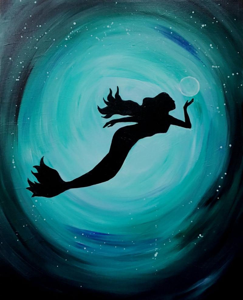 Mermaid, Tipsy Brush Painting, Kalispell