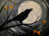 Midnight Raven, Tipsy Brush Painting in CFalls