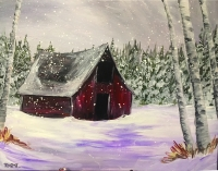 Winter Barn, Tipsy Brush painting in Lakeside!