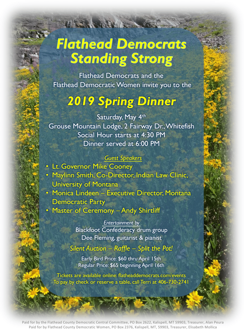 Flathead Democrats' Spring Dinner 05/04/2019 Whitefish, , Grouse