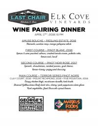 Elk Cove Vineyards Wine Pairing Dinner