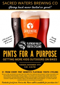 Sacred Waters Pint Night for Flathead Youth Cycling