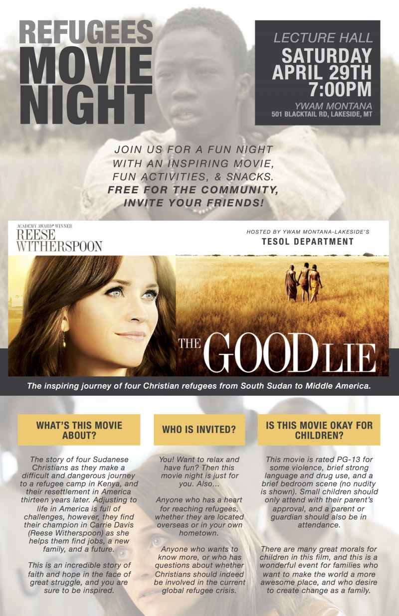 Refugees Movie Night: 'The Good Lie' 04/29/2017 Lakeside