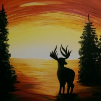 Sunset Elk - Tipsy Brush Painting Party, Kalispell