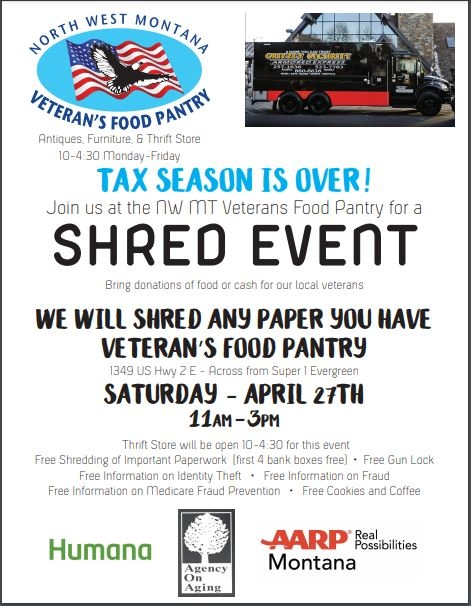Shred Event 04/27/2019 Kalispell, Montana, NW MT Veterans Food