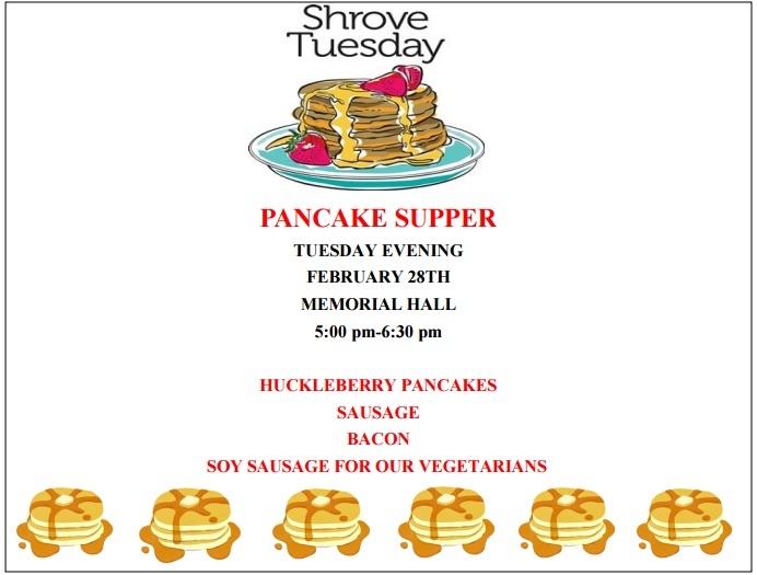 Shrove Tuesday pancake supper 02/28/2017 Columbia Falls ...