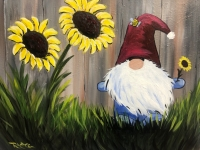 Sunflower Gnome, Tipsy Brush Painting Party