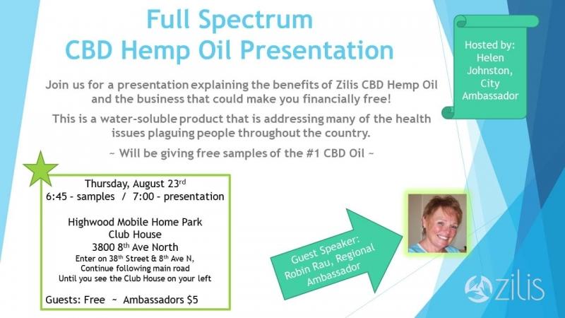 Full Spectrum CBD oil Presentation 08/23/2018 Great Falls