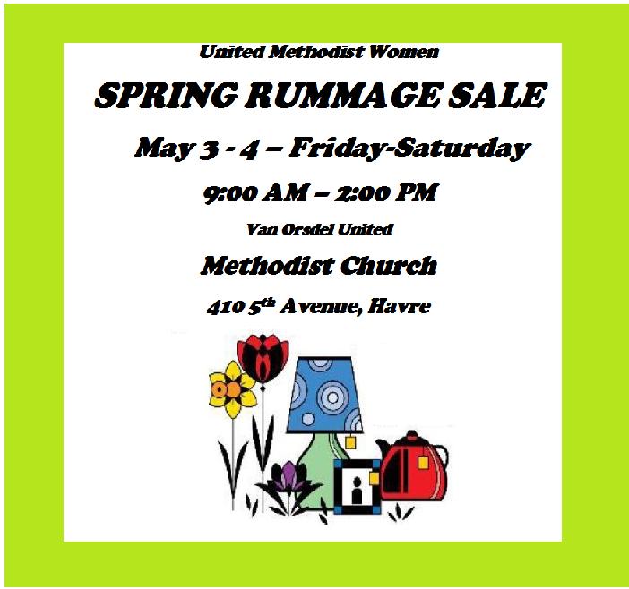 Rummage Sale 05/04/2019 Havre, , Van Orsdel United Methodist