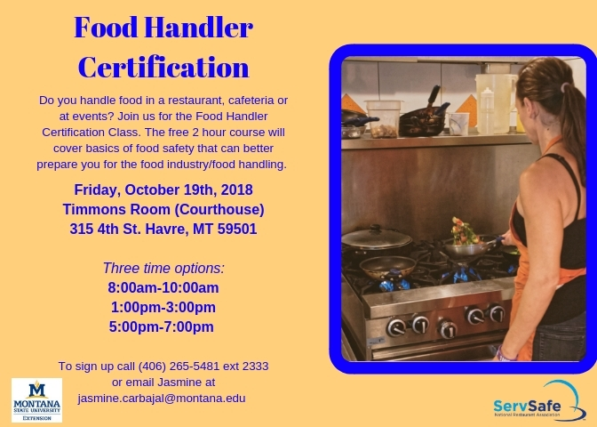 food handler certification 10/19/2018 havre, montana, timmons room ...