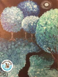 Canvas Paint N Party, adult Paint N sip Teal Tree Path