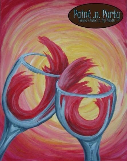 Paint n party wine glasses adult canvas paint n sip 12 for Arts and crafts workshops near me
