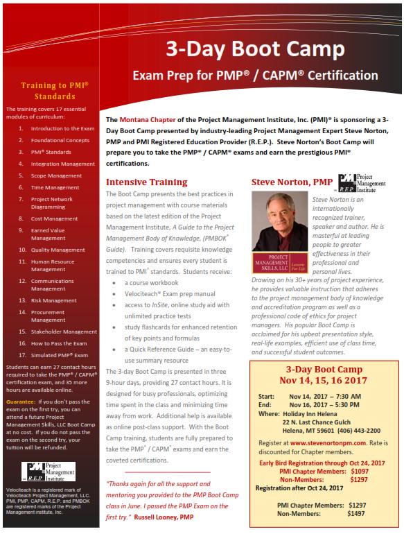 Project Management Boot Camp Pmi Montana Pmp Capm 11142017