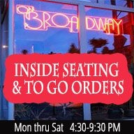 On Broadway Open for Inside Seating and To Go Orders