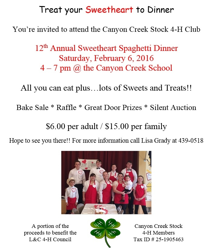 sweetheart spaghetti dinner fundraiser 02 06 2016 canyon creek
