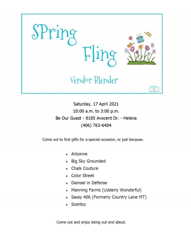 Spring Fling Vendor Blender 04/17/2021 Helena, Montana, Be ...